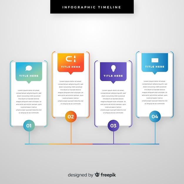 タイムラインの概念を持つインフォグラフィックテンプレート 無料ベクター