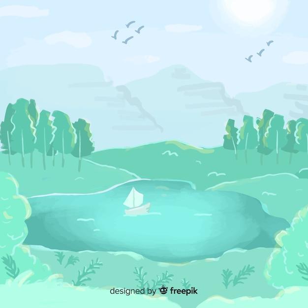 Акварель естественный фон с ландшафтом Бесплатные векторы