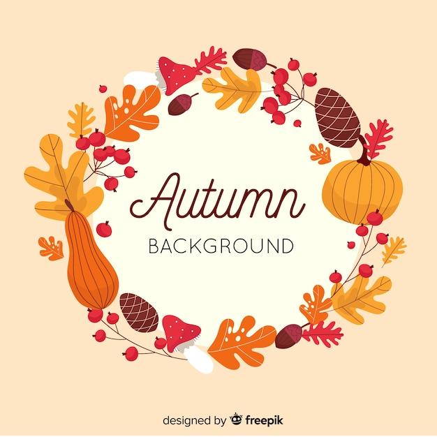 秋の装飾的な背景のフラットデザイン 無料ベクター
