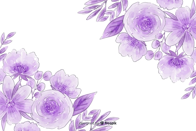 花の水彩画の自然な背景 無料ベクター