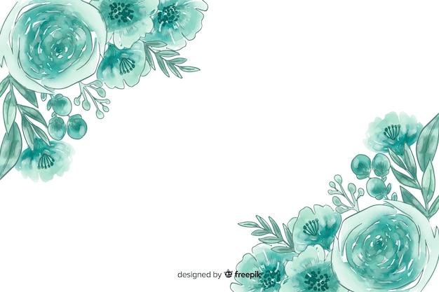 Акварель естественный фон с цветами Бесплатные векторы
