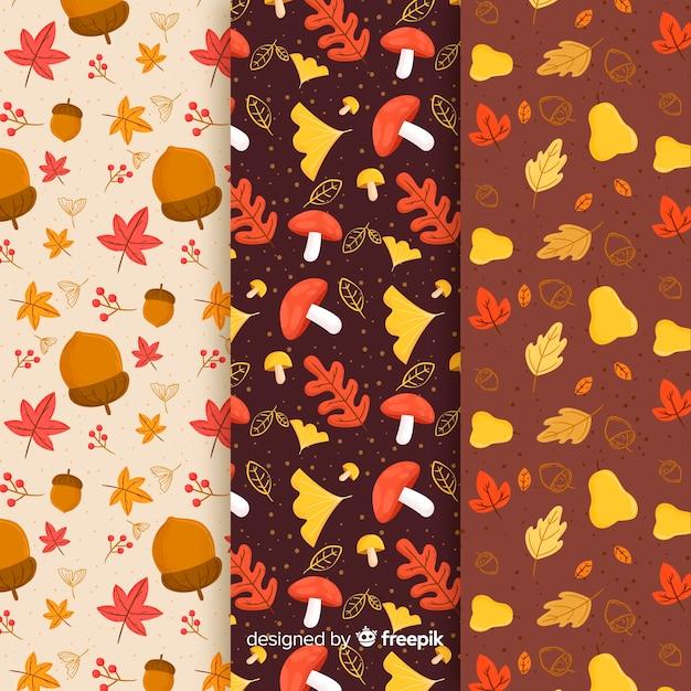 秋パターンのセット手描きスタイル 無料ベクター