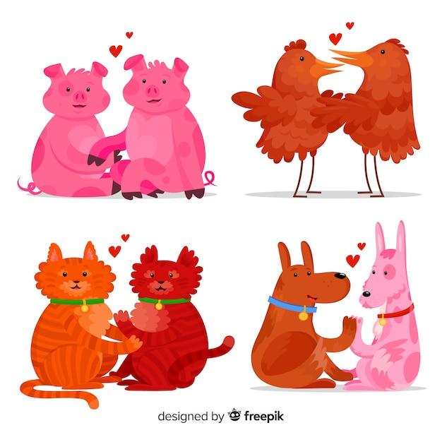 お互いを愛するかわいい動物のイラスト 無料ベクター