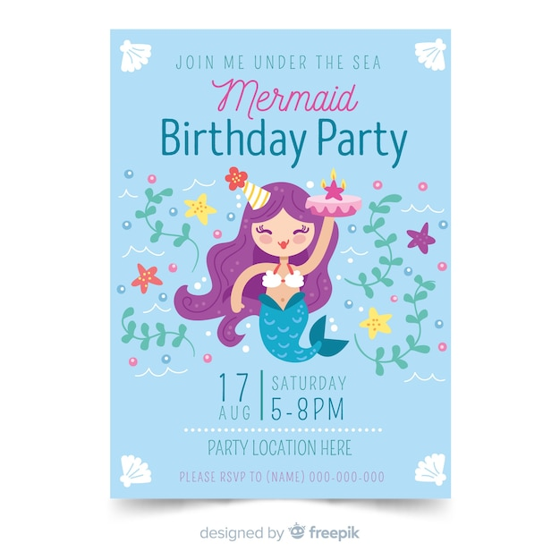 Нарисованный рукой шаблон приглашения дня рождения Бесплатные векторы