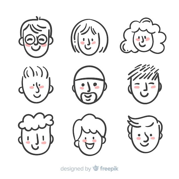 Коллекция рисованной людей аватара Бесплатные векторы