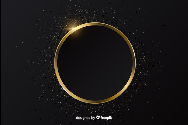 黄金の輝くラウンドフレームの背景 無料ベクター