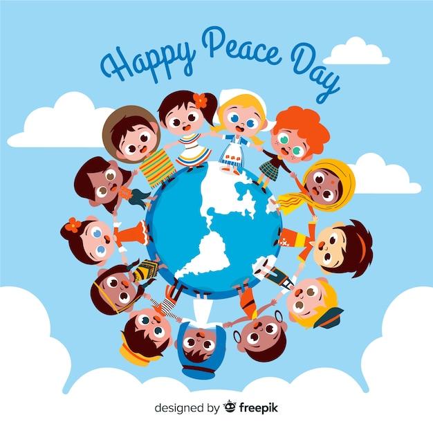 平和の日の背景世界中の手を繋いでいる子供たち 無料ベクター
