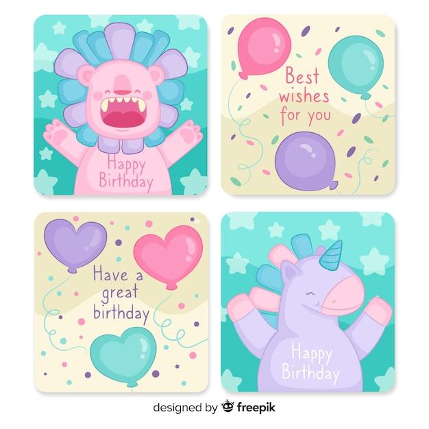 手描きの誕生日カードコレクション 無料ベクター