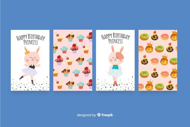フラットなデザインの誕生日カードコレクション 無料ベクター