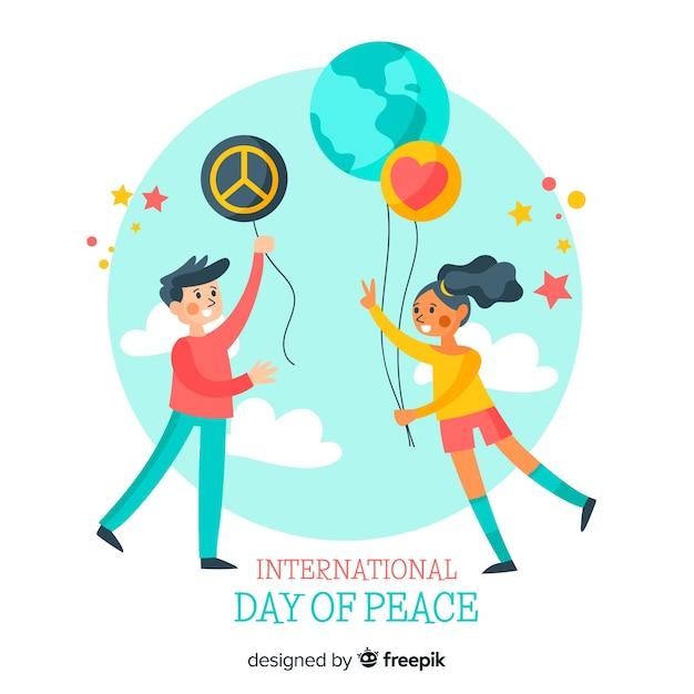 平和の背景の国際デー 無料ベクター