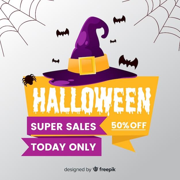 Фон хэллоуин продаж в плоском стиле Бесплатные векторы
