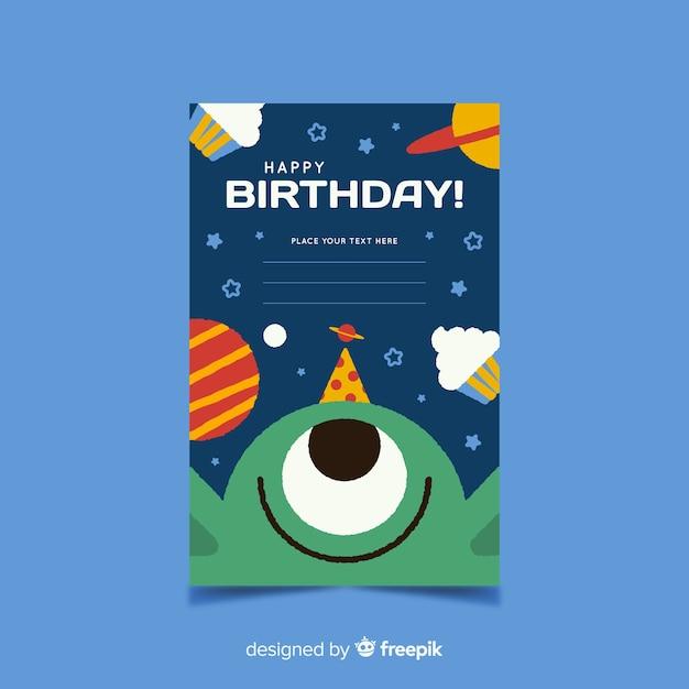 手描きの誕生日の招待状のテンプレート 無料ベクター