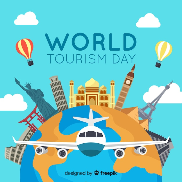 Всемирный день туризма фон с достопримечательностями и транспортом Бесплатные векторы