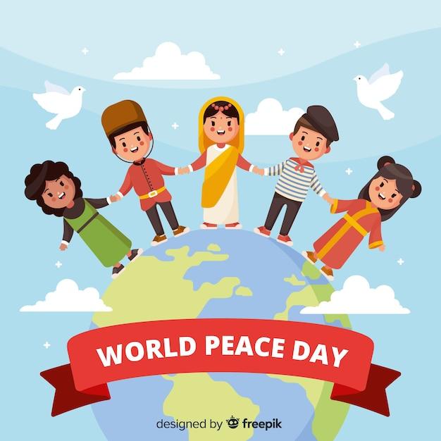 子供たちと平らな平和の日の背景 無料ベクター