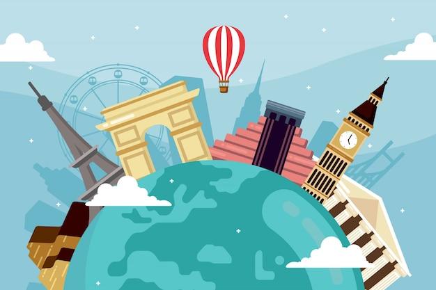 ランドマークと交通機関と世界の観光日の背景 無料ベクター