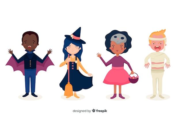 Плоская коллекция хеллоуинских детских костюмов Бесплатные векторы