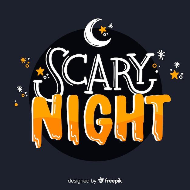 Хэллоуин страшная ночь надписи Бесплатные векторы