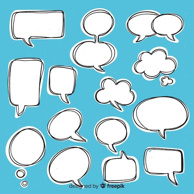 Коллекция рисованной речи пузырь Бесплатные векторы