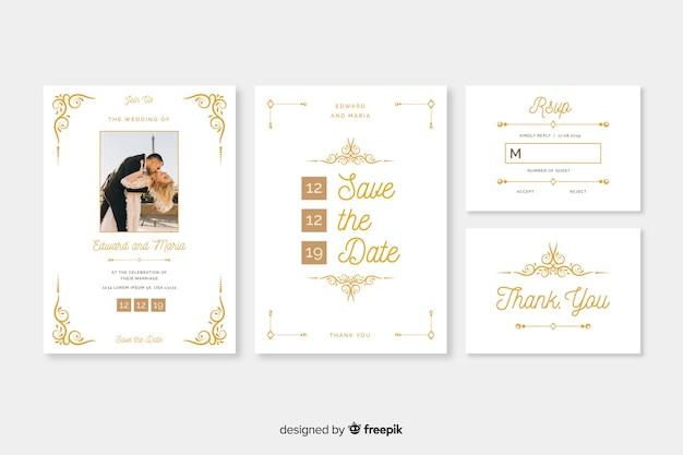 Шаблон свадебного приглашения с фото Бесплатные векторы