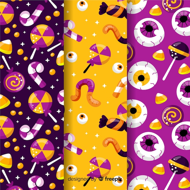 フラットなデザインのハロウィーンパターンコレクション 無料ベクター