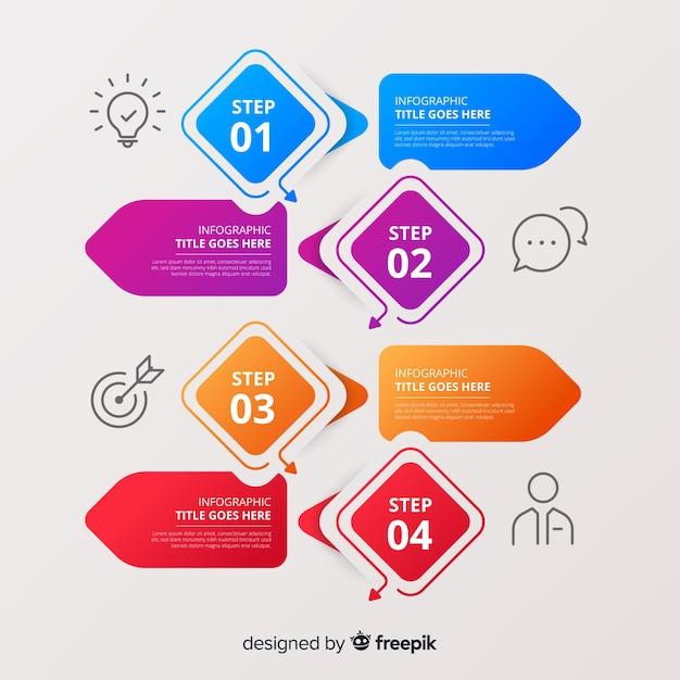 Красочные инфографики шаги шаблон плоский дизайн Бесплатные векторы
