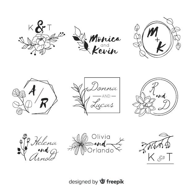 Свадебные логотипы с буквами вензеля Бесплатные векторы