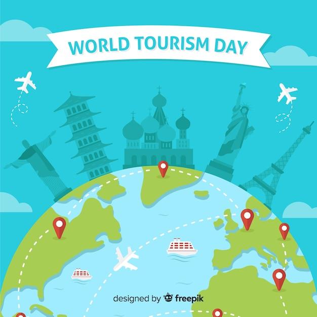 Плоский всемирный день туризма фон Бесплатные векторы