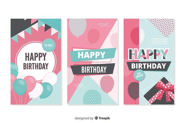 誕生日カードコレクション手描きの誕生日カードコレクション 無料ベクター