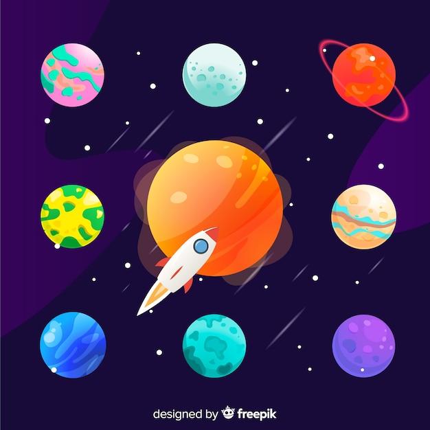 Набор планет плоского стиля Бесплатные векторы