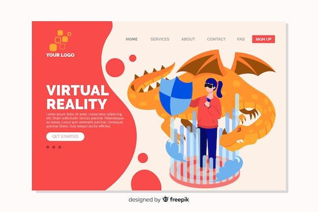Виртуальная реальность плоский дизайн целевой страницы Бесплатные векторы