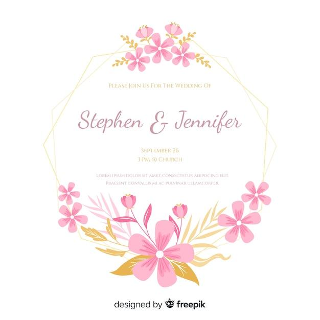 Плоское цветочное приглашение на свадьбу Бесплатные векторы