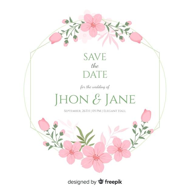 フラット花のフレームの結婚式の招待状 無料ベクター