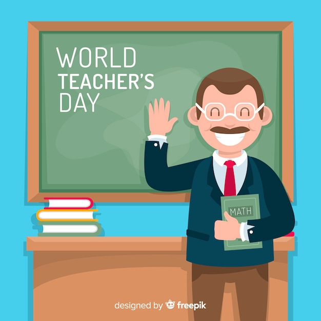 フラットなデザインの世界教師の日の背景 無料ベクター