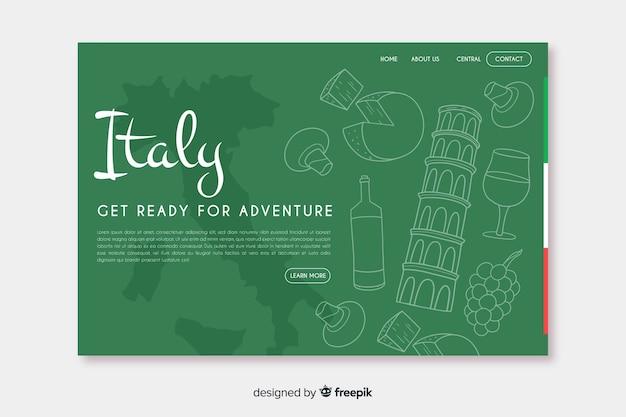 Добро пожаловать на целевую страницу италии Бесплатные векторы