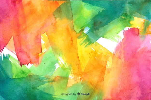 手描きのカラフルな水彩背景 無料ベクター