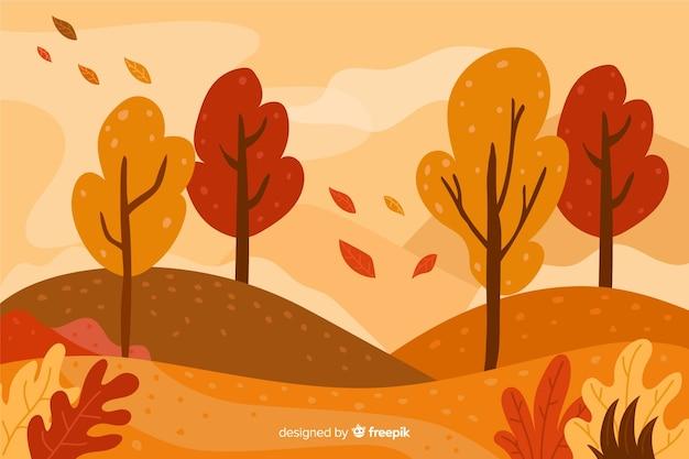 手描きの風景と秋の背景 無料ベクター