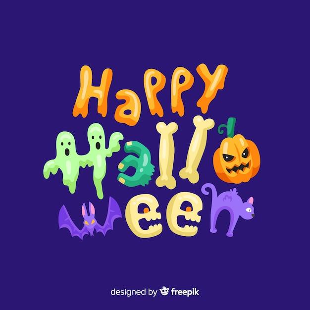 Красочный счастливый фон надписи хэллоуин Бесплатные векторы
