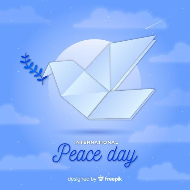 鳩と折り紙の平和の日の背景 無料ベクター
