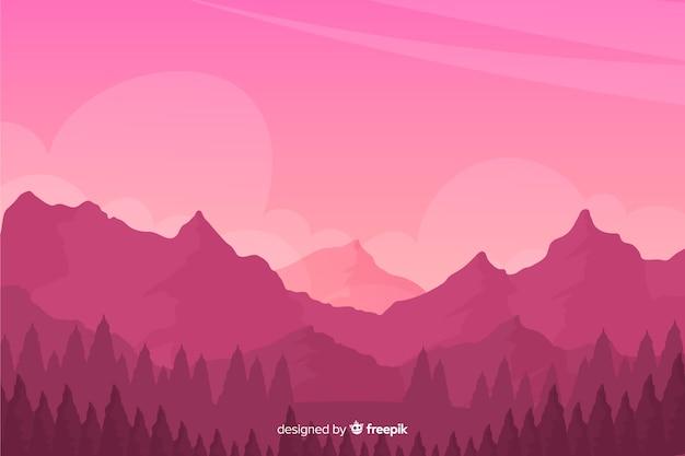 山の風景と自然な背景 無料ベクター