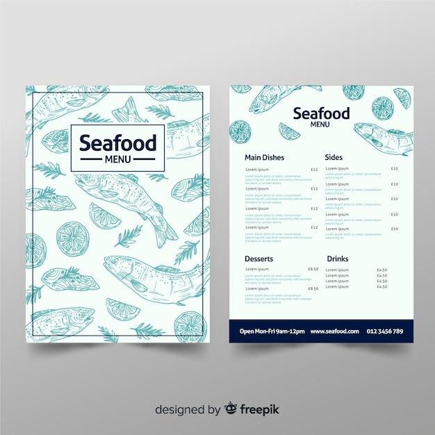Нарисованный рукой шаблон меню ресторана морепродуктов Бесплатные векторы