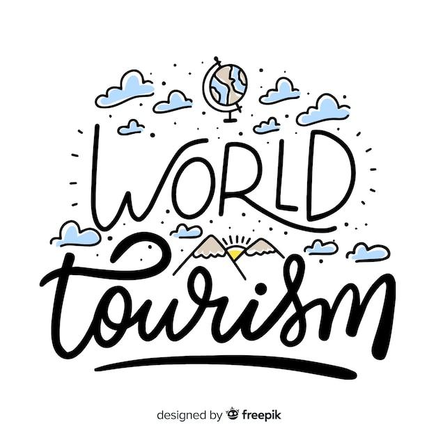 世界観光日レタリングの背景 無料ベクター