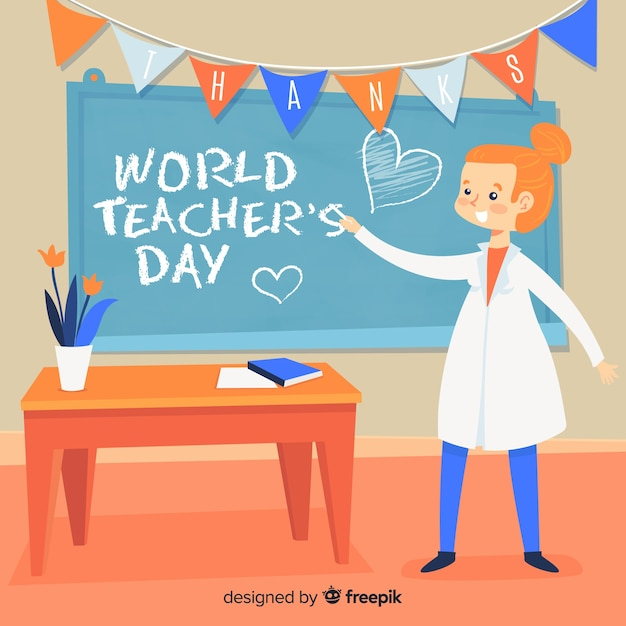 Плоский день учителя мира Бесплатные векторы