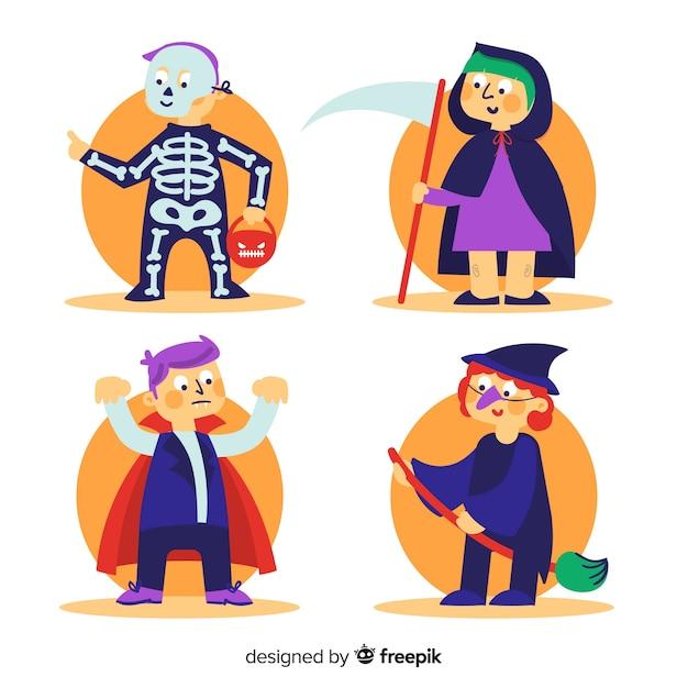 Коллекция хэллоуинских детей в костюмах Бесплатные векторы