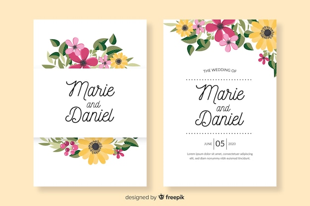平らな花の結婚式の招待状のテンプレート 無料ベクター