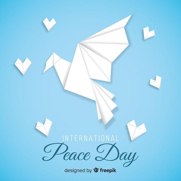 Оригами голубь к международному дню мира Бесплатные векторы
