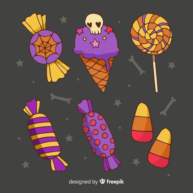 Рисованной коллекция сладостей хэллоуин Бесплатные векторы