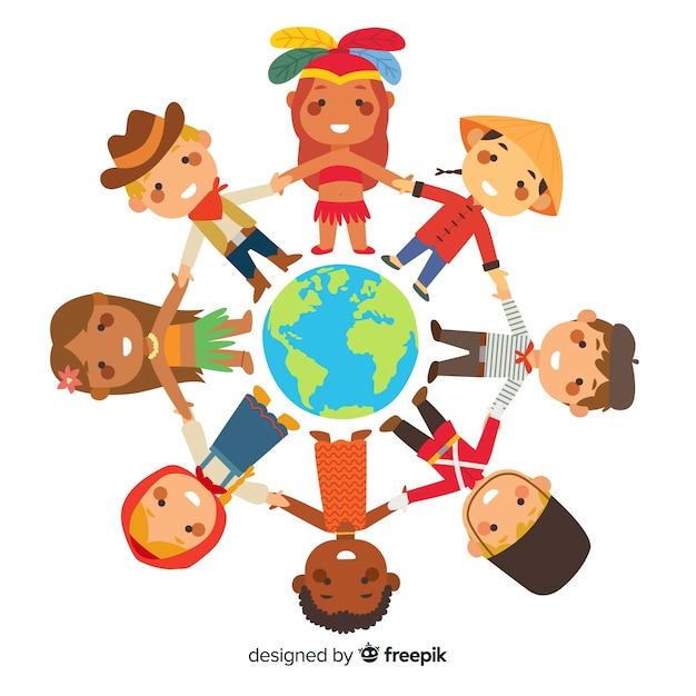 世界中で手をつなぐ子どもたちとの平和の日 無料ベクター