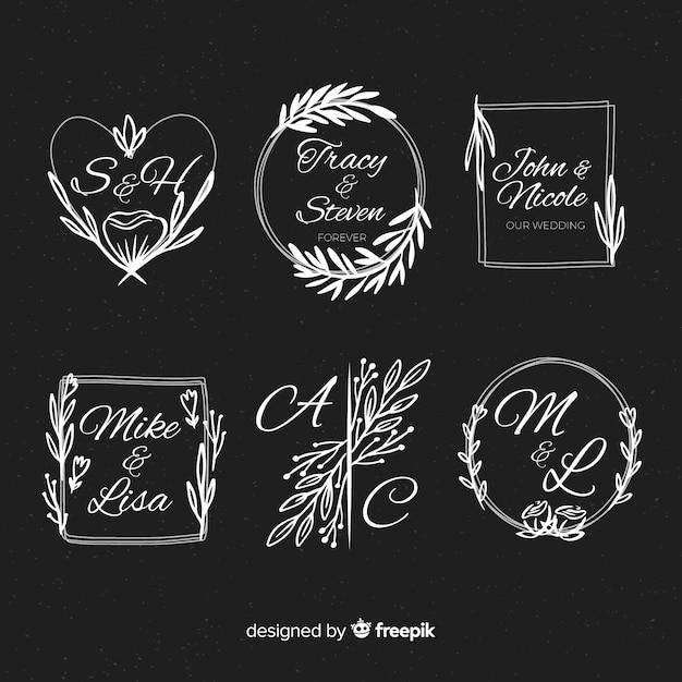 Декоративный свадебный логотип Бесплатные векторы