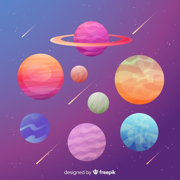 平らなカラフルな惑星のコレクション 無料ベクター