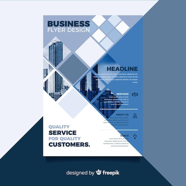 Мозаика бизнес флаер с фото Бесплатные векторы